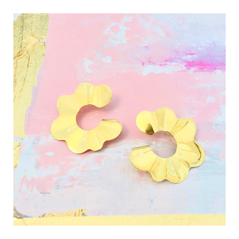 Gold Wavy Flower Petal Hoops