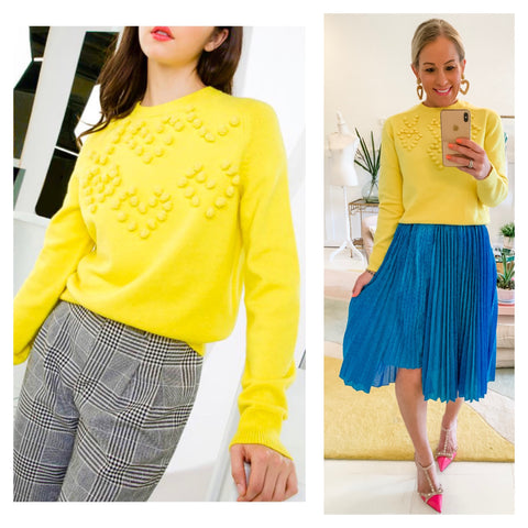 Bright Lemon Yellow Knit Sweater with PomPom HEART Shaped Appliqué Design