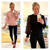 Black OR Blush Pink Fine Knit Top with Semi Sheer Flower Appliqué Sleeves & Banded Waist