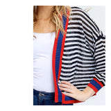 Black White Stripe Open Front Lightweight Cardigan with Red & Blue Banded Contrast
