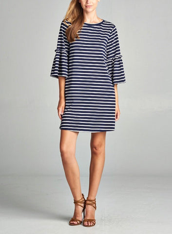 Navy and White Stripe 3/4 Length Bell Sleeve Dress