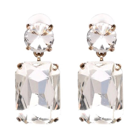 Crystal Solitaire & Cushion Cut Drop Earrings