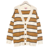 Ivory Camel & Black Button Front Go With Everything Cardigan