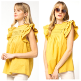 Marigold Textured Pintuck Top with Layered Ruffle Sleeves & Button Back
