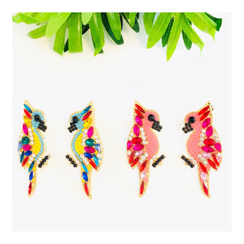 Pink OR Yellow Crystal Cluster Bird Earrings