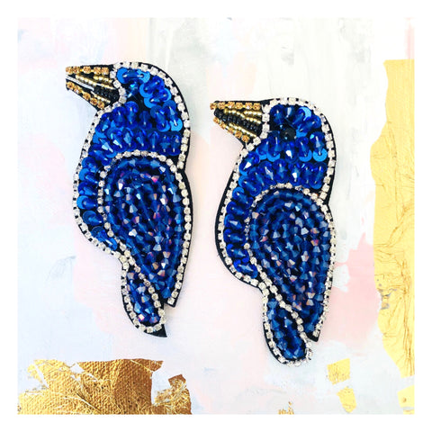 HANDMADE Blue Beaded & Rhinestone Lovebird Earrings