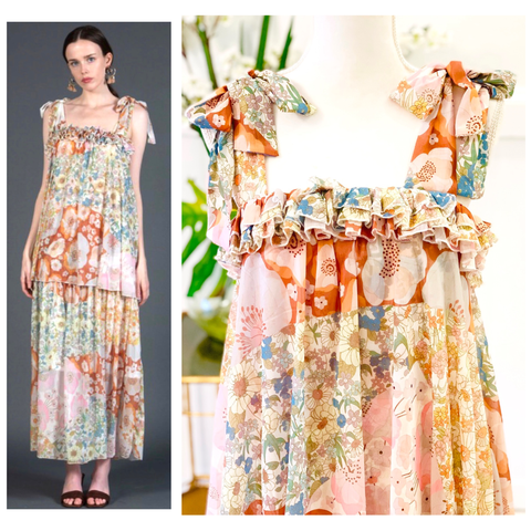 Ivory Floral Chiffon Tiered Hem Maxi Dress with Triple Ruched Ruffle Bust & Shoulder Bow Ties