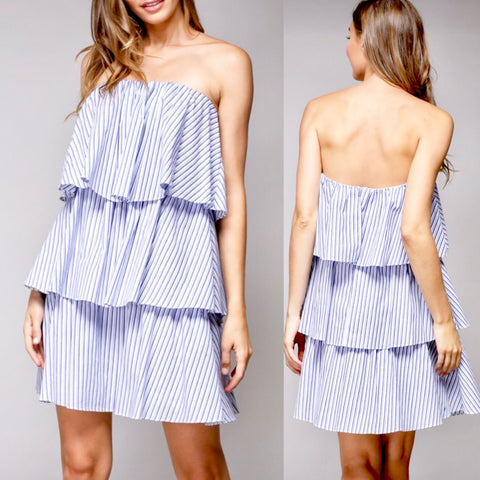 Blue White Pinstripe Strapless 3 Tier Trapeze Dress