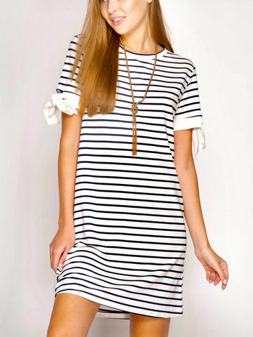 Navy and White Stripe Short Sleeve Dress with Sleeve Ties