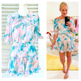 Teal Blush & White Tye Dye Swirl Smocked Off the Shoulder Linen Blend Dress with Ruffle Sleeves