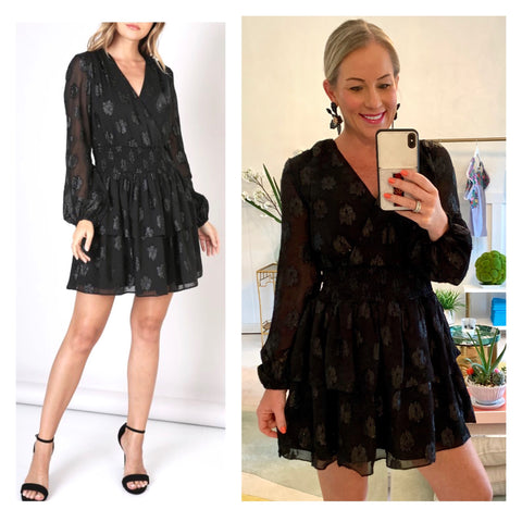 Black V-Neck Long Sleeve Tiered Ruffle Dress with METALLIC Black Accents, Smocked Waist & Keyhole Back