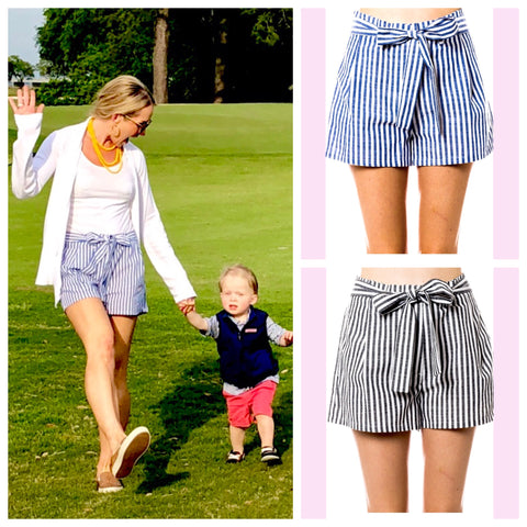 Blue OR Black Nautical Stripe Shorts with Belt Tie