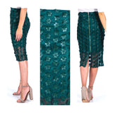 Green Midi Pencil Skirt with Flower Appliqués, Sheer Overlay & Exposed Gold Zipper