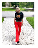 Tomato Red Sailor Button Bell Bottom Trouser Pants