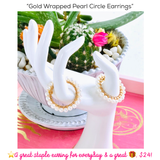 Gold Wrapped Pearl Circle Earrings