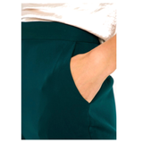 Emerald Green High Waisted Flared Hem Dress Pants with Pockets