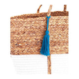 Woven Straw & White Natural Fiber Tote with Blue Tassel Tie