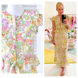 Pastel Floral Print Ruffle Trim Tie Waist Designer Inspired Maxi Dress with Side Slit