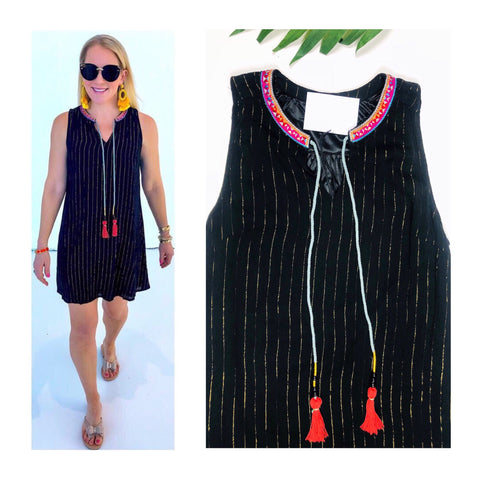 Black & Metallic Gold Pinstripe Dress with Magenta Embroidery & Tassel Tie