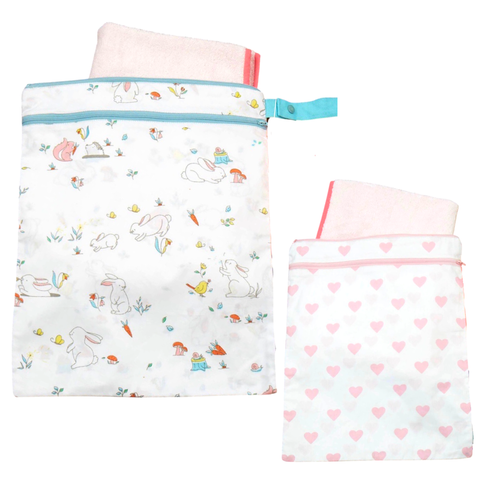 Little West Wet/Dry Bags in Snuggle Bunny & Hearts