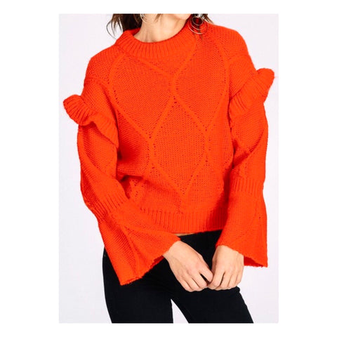 Tomato Red Ruffle Sweater with Flare Sleeves