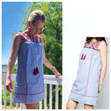 Blue Stripe Sleeveless Shift Dress with Vibrant Fuschia Embroidery and Tassel Ties