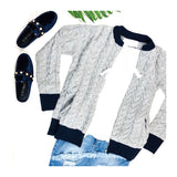 Grey & Navy Cable Knit Bomber Jacket