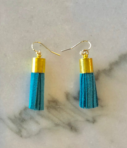 Aqua Leather Tassel Earrings with Gold Barrel