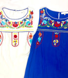 Royal Blue Sleeveless Dress with Embroidered Yoke & Pockets