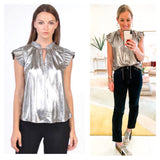Silver Foil Accordion Pleated Top with Optional Tassel Tie