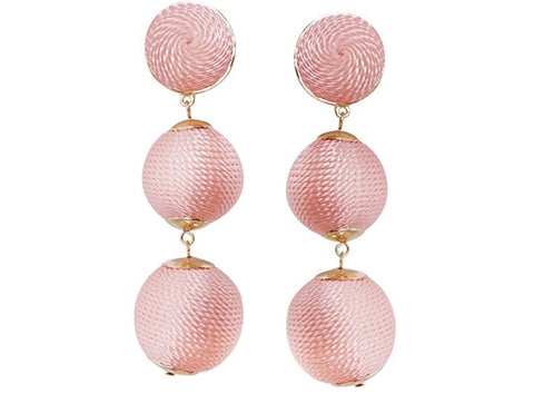 Triple Ball Drop Earrings, Blush Pink