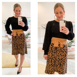 Black & Camel Stretchy Knit Midi Skirt with Front or Rear Self Tie Bow
