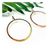 Multicolor Gemstone Open Circle Earrings