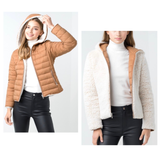 Winter White Sherpa & Camel Down REVERSIBLE Hooded Puffer Jacket