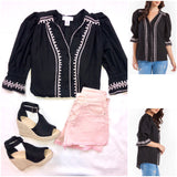 Black & Baby Pink Embroidered 3/4 Sleeve Button Down Top with Scalloped Neckline