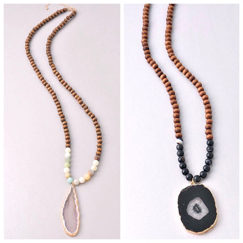 Grey OR Black Natural Stone & Wood Beaded Necklace