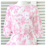 White & Coral Chinoiserie Print 3/4 Puff Sleeve Dress with Asymmetrical Ruffle Hem