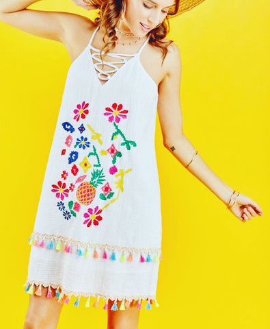 Black OR White Embroidered Fiesta Dress with Multicolor Tassels