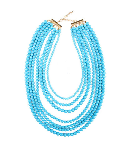 Turquoise Multi Strand Beaded Necklace