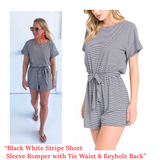Black White Stripe Short Sleeve Romper with Tie Waist & Keyhole Back