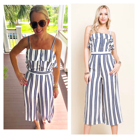 Navy White Stripe Button Front Jumpsuit with Ruffle Bust