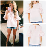 White OR Blush Pink Eyelet Poplin Top with Ruffle Detail and Tie Back