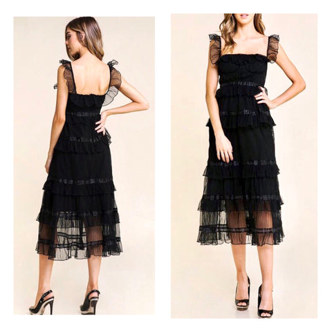 Black Flutter Sleeve Tiered Chiffon Midi Dress with Banded Waist