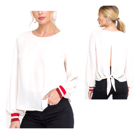 Ivory Blouse with Red Contrast Cuff Sleeves & Self Tie Semi Open Back