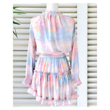 Pastel Tye Dye Long Sleeve Smocked Waist High Low Ruffle Hem Dress