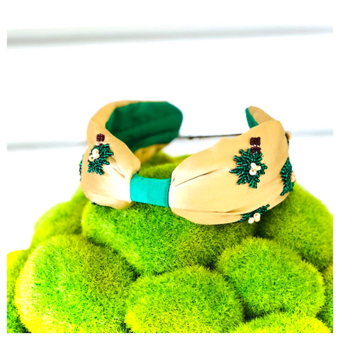 Green & Gold Satin Beaded Palm Tree Headband