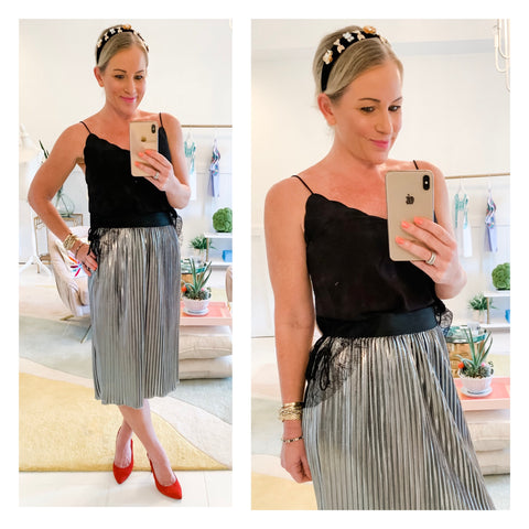 Metallic Silver Foil Pleated Midi Skirt with Black Elastic Banded Waist