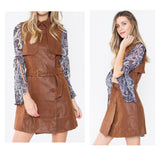 Caramel 'Leather' Trench Vest OR Dress (the FINEST QUALITY faux leather I've seen)