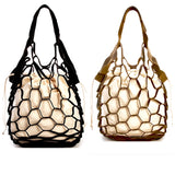 Textured PU Leather Net Handbag with Canvas Lining