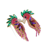 Emerald Green Rhinestone Garnet & Amethyst Gemstone Bird Earrings